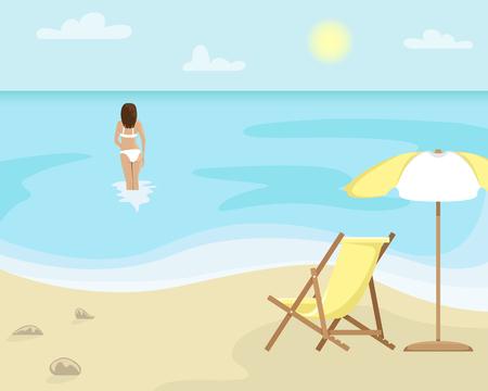 Paisaje de playa con tumbonas y sombrillas. Chica en traje de baño está en el mar. Ilustración de vector plano. Ilustración de vector