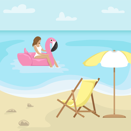 Beach landscape with sunbed and sun umbrella. Girl in a swimsuit in a rubber ring in the form of flamingos in the sea. Flat vector illustration.