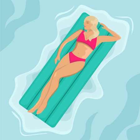 Girl in a swimsuit floating on an air mattress in the sea. Flat vector illustration. Top view