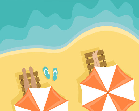 Beach with people lying on sun loungers and beach umbrellas. Flat vector illustration. Top view