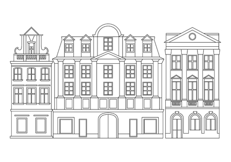 Vector line illustration of European cozy historical buildings. Line monochrome art. Çizim