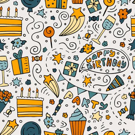 Hand-drawn seamless pattern with Birthday ink doodles. Ilustración de vector