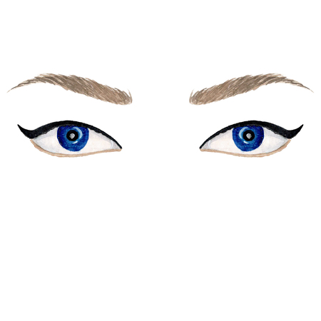 Watercolor blue eyes with black eyeliner. Isolated illustration. Banque d'images - 118109998