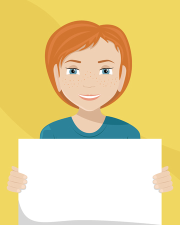 Vector flat illustration of a white woman with a placard in her hands. Racial diversity.