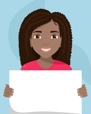 Vector flat illustration of a black woman with a placard  in her hands. Racial diversity. Illustration