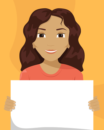 Vector flat illustration of a mixed-race woman with a placard in her hands. Racial diversity.