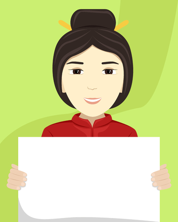 Vector flat illustration of a Asian woman with a placard in her hands. Racial diversity. 스톡 콘텐츠 - 121997784