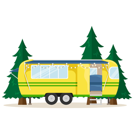 Retro house on wheels for traveling. Car travel. Vector flat illustration. Motorhome with lights.