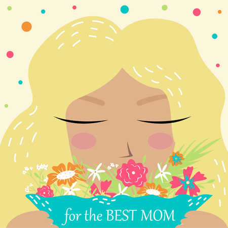 Hand-drawn vector postcard with lovely girl. Flowers for the best mom. Mother's day. Illustration