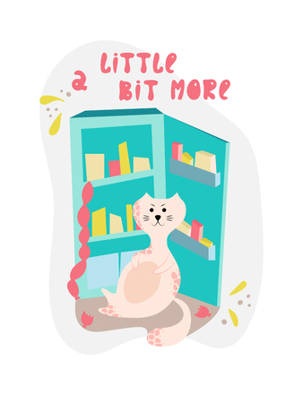 Cute bloated cat near the fridge in cartoon flat style. Hand drawn illustration with quote. Illustration