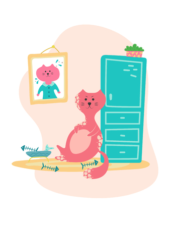 Cute bloated cat near the bowl of food in cartoon flat style. Hand drawn illustration with quote.