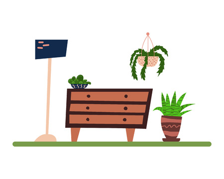 Flat cartoon interior. Living room with a house plants. Hygge. Isolated vector illustration.