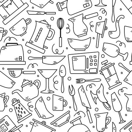 Nahtloses Muster mit Küchengeräten in Zeilen. Hintergrund für die Gestaltung. Kochen