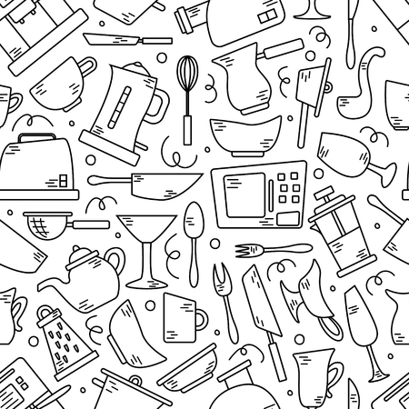 Seamless pattern with kitchen appliances in lines. Background for design. Cooking
