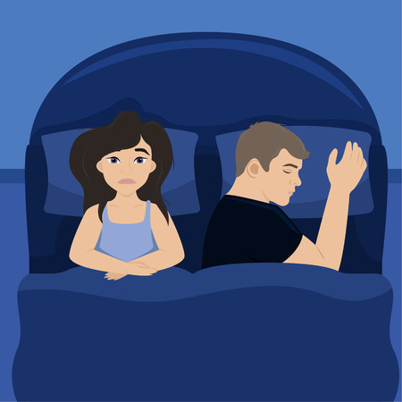 The wife is in bed with her husband. Insomnia. Tired girl. vector illustration. Illustration