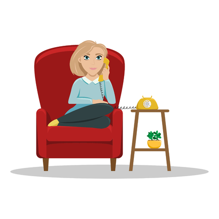 A woman sitting in a chair at home talking on the phone. Cozy conversations with a friend. Flat vector illustration.
