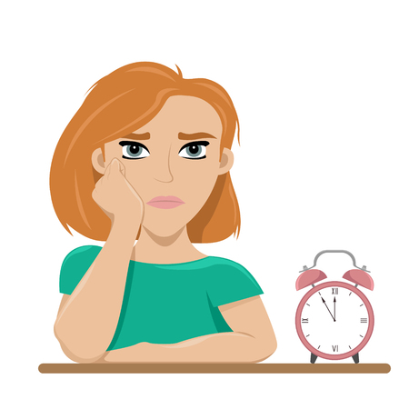 Girl tired of waiting. Boredom. Long wait. Flat vector illustration.