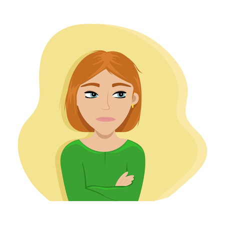 The angry girl crossed her arms. Flat vector illustration. Emotions.