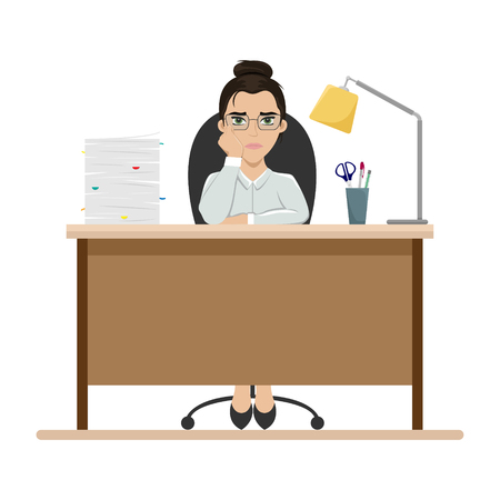 Tired girl at work at the office table. Office worker. Boredom. Flat vector illustration. Illustration