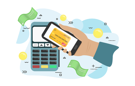 Flat illustration of the payment terminal. Vector pos terminal confirms the payment by smartphone. Hand with smartphone near POS terminal. Flat vector illustration Vettoriali