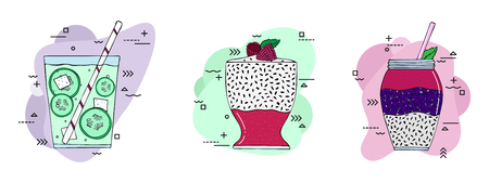 Hand drawn superfood. Smoothie in a cup. Chia seeds, berries, fruits. Cucumber lemonade. Flat vector hand drawn illustration