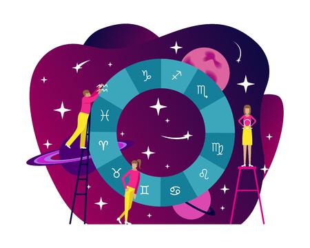 Small people flat astrology illustration. Natal chart with gradient background. Horoscope. Flat vector illustration Vektorové ilustrace