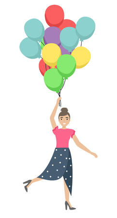 Happy pretty girl with balloons in her hands. Flying on a bunch of balloons. Flat cartoon style vector illustration
