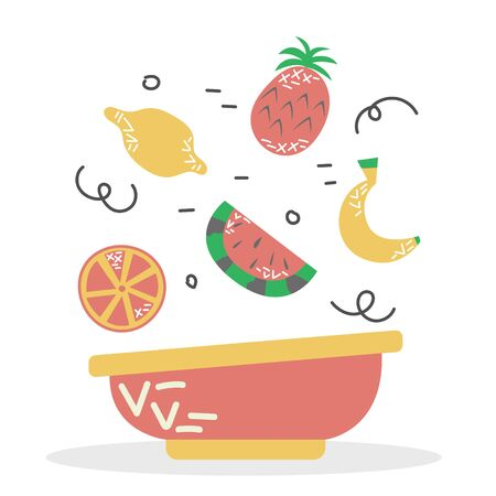 A plate of fruit smoothie bowl. Proper diet. Vitamin food. Isolated vector illustration.