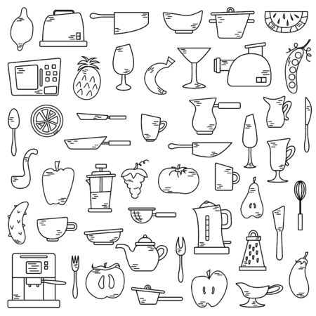 Conjunto de lindos elementos aislados con frutas y verduras, electrodomésticos de cocina. Ilustraciones planas.