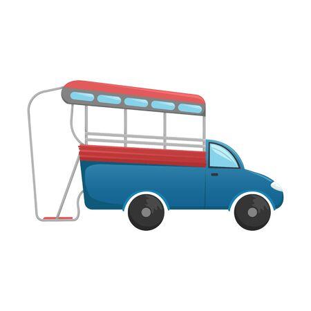Vector tuk tuk. A flat cartoon illustration of Asian public transport. Isolated image.