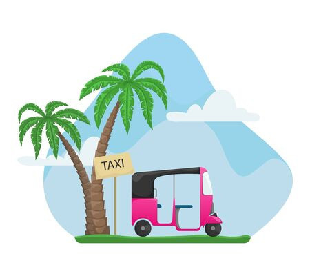 Vector tuk tuk near palms. A flat cartoon illustration of Asian public transport. Landscape.