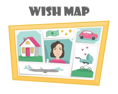 Vision board with pictures depicting dreams and desires. Marathon desires. Flat vector illustration in cartoon style.