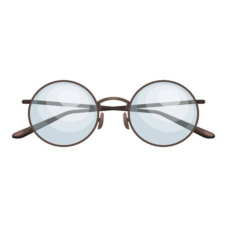 Fashionable round glasses with diopters. Vision correction. Fashion accessory. Flat vector illustration.