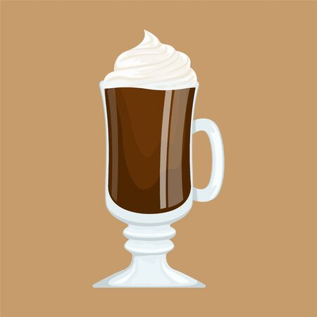 Cocoa with whipped cream in a glass goblet on the stem. Vector flat illustration. Stockfoto