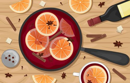 Red mulled wine in a pot with orange slices, cinnamon, cloves and a bucket. White mugs of mulled wine. Flat lay. Flat vector illustration.