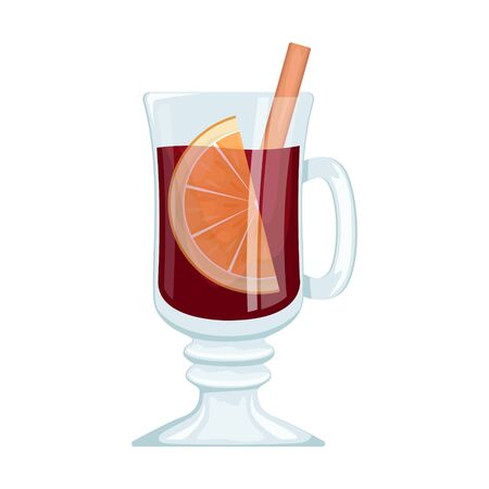 Red mulled wine in a Cup with orange slices and spices. Winter alcoholic drink. Vector illustration.