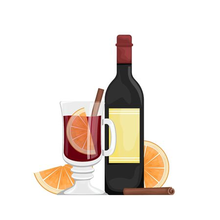 Red mulled wine in a Cup with orange slices and spices. Winter alcoholic drink. Vector flat illustration with bottle of wine, mulled wine in a glass.
