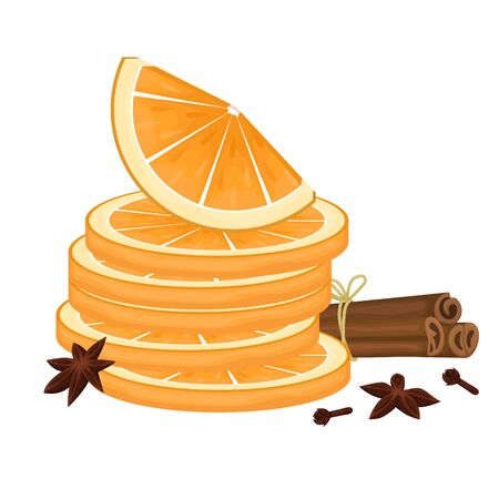 Orange slices. Cinnamon sticks tied with rope, cloves and star anise. Spices for mulled wine. Vector illustration.