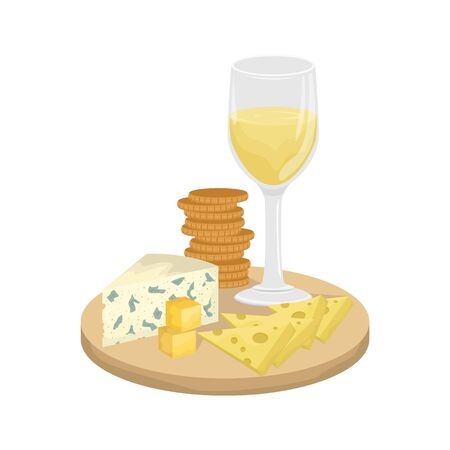 A glass of white wine, cheese platter on a wooden Board with crackers. Maasdam, Gouda, Roquefort. Vector illustration.