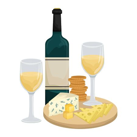 Two glasses of white wine, cheese platter on a wooden Board with crackers? bottle of wine. Maasdam, Gouda, Roquefort. Vector illustration.