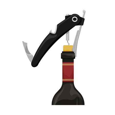 Modern hand corkscrew bartender opens a bottle of wine. Flat vector illustration.