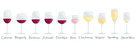 Types of wine glasses. Flat vector cartoon illustration. Isolated glasses with red, white and rose wines.