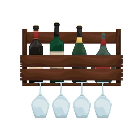 Wooden wine shelf with glass holders. Wine cellar. Flat vector illustration.