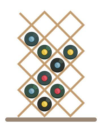Floor shelf for horizontal wine storage. Elite wines. Wine cellar. Flat vector illustration.