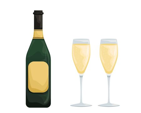 Two glasses of white sparkling wine and a bottle. Proper use of wine. Accessories for drinking wine. Stock Illustratie