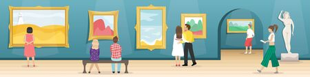 Fine arts museum with visitors. Hall with paintings in gilded baguettes and sculptures. Classical art. Flat vector illustration.