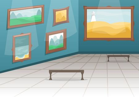 Fine arts museum. Hall with paintings in gilded baguettes, fenced from visitors. Classical art. Cartoon vector illustration.