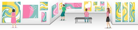 Modern Art Museum with visitors. Hall with white walls with abstract paintings. Biennale of contemporary art. Minimalistic interior of the Museum. Vector illustration.
