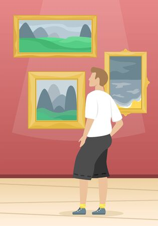 A man looks the paintings of famous artists. Fine arts museum. Classical art. Flat vector illustration.