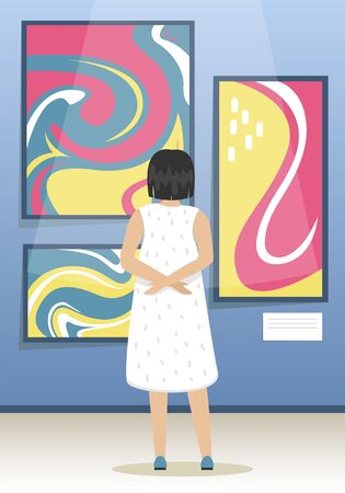 The girl looks the paintings of modern abstract artists. Modern Art Museum. Biennale of contemporary art. Minimalistic interior of the Museum. Vector illustration.